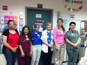 Deborah Brown, RN; Karen Rogel, MA extern; Susan Jacobs, RN; Pauline Templeton, RN; Christine Neill, CNA; Mary Sarkisyan, MA extern